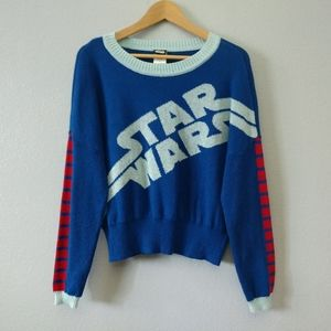 Star Wars Blue Xmas Styled Knit Pullover Sweater